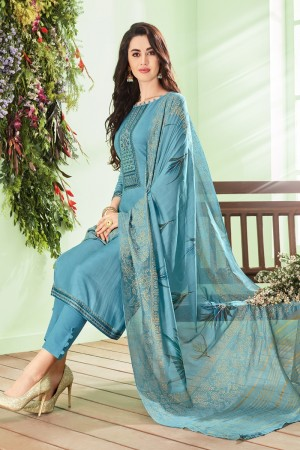Light Blue Cotton Silk Salwar Kameez