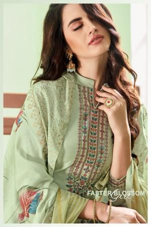 Light Mehendi Cotton Silk Salwar Kameez