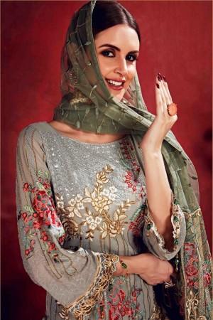 Silver Georgette Salwar Kameez