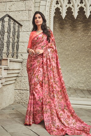 Light Pink Satin Saree with Blouse