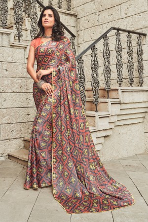 Multicolor Satin Saree with Blouse