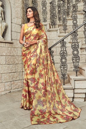 Yellow Satin Saree with Blouse