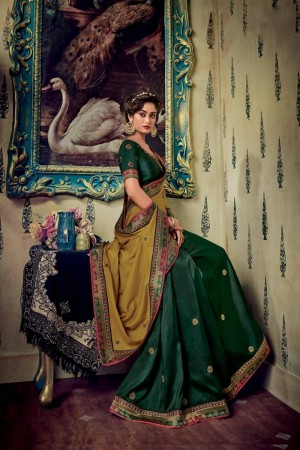 Mustard & Dark Green Satin Georgette Saree with Blouse