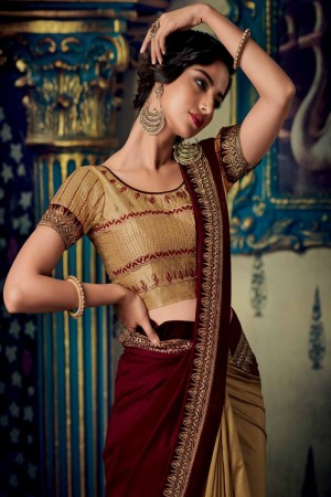 Maroon & Chiku Satin Georgette Saree with Blouse