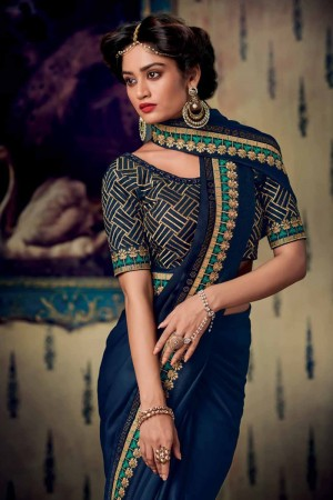 Navy Blue Satin Georgette Saree with Blouse