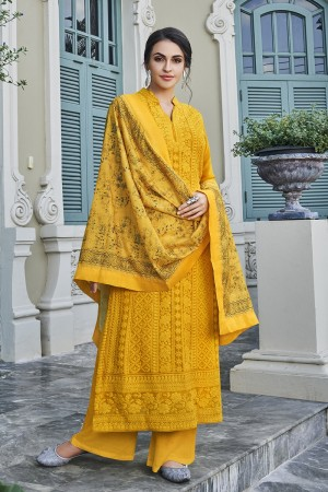 Yellow Georgette Plaazo Suit