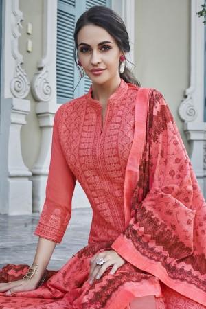 Coral Georgette Plaazo Suit