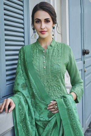 Green Georgette Plaazo Suit
