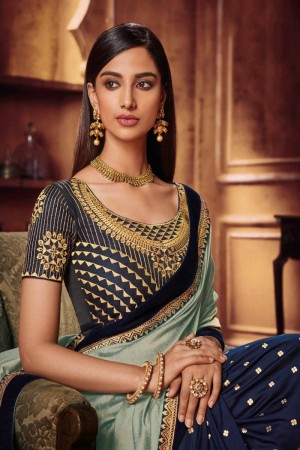 Light Mehendi & Navy Blue Satin Georgette Saree with Blouse