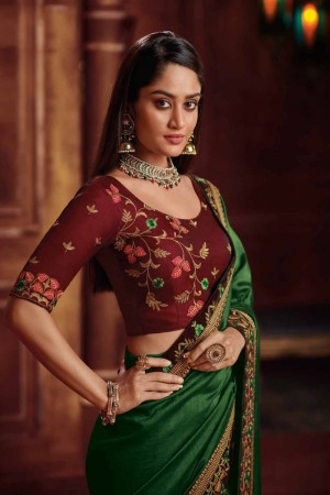 Green Satin Georgette Saree with Blouse