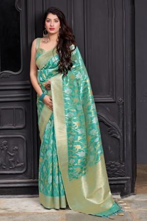 Sky Blue Banarasi Silk Saree with Blouse