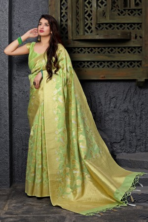 Pista Banarasi Silk Saree with Blouse