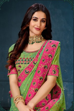 Green Cotton Linen Saree with Blouse
