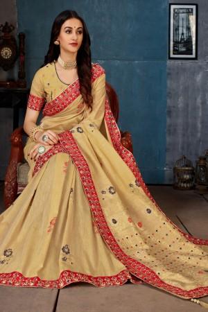 Cream Cotton Linen Saree with Blouse