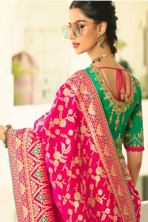 Rani Pink Silk Saree with Blouse