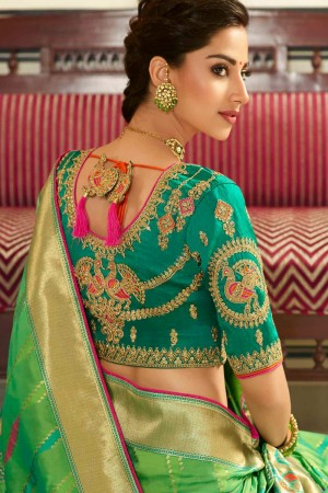 Light Parrot Green Silk Saree with Blouse