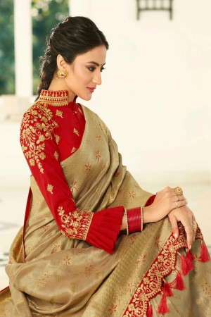 Golden Silk Saree with Blouse