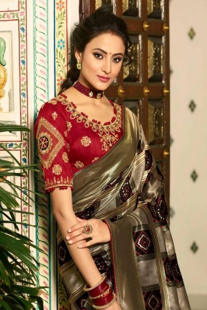 Black Silk Saree with Blouse