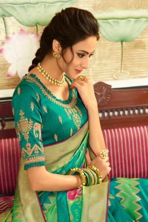 Firozi Silk Saree with Blouse