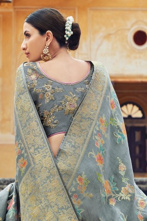 Light Grey Silk Saree with Blouse