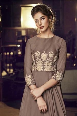Dusty Cedar Modal Satin Gown