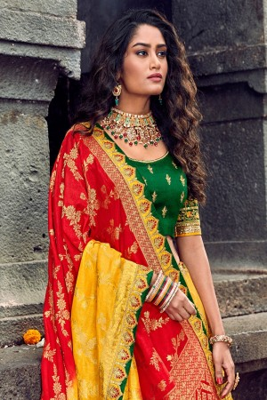 Yellow Silk Lehenga Choli