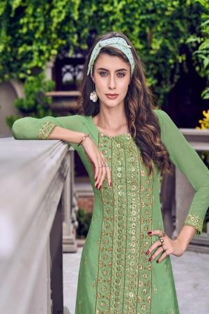 Pista Green Tussar Satin Salwar Kameez