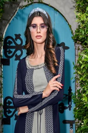 Blue & Grey Crepe(Jacket&Blouse) Salwar Kameez