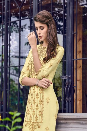 Light Yellow Muslin Salwar Kameez