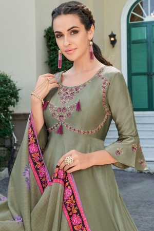 Mehendi Heavy Soft Silk Salwar Kameez