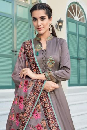 Smoke Grey Heavy Soft Silk Salwar Kameez
