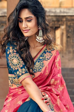 Pink & Blue Banarasi Silk Saree with Blouse