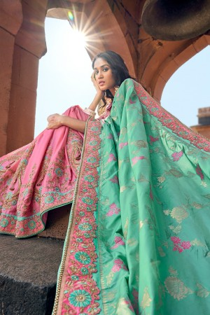 Baby Pink & Light Teal Banarasi Silk Saree with Blouse