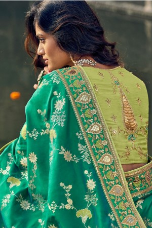 Rama & Pista Banarasi Silk Saree with Blouse
