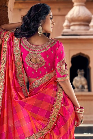 Pink & Orange Banarasi Silk Saree with Blouse