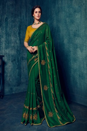 Bottel Green Dola Silk Saree with Blouse