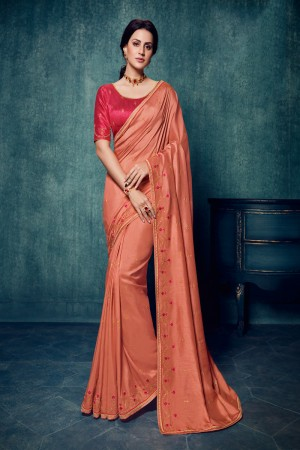 Peach Dola Silk Saree with Blouse