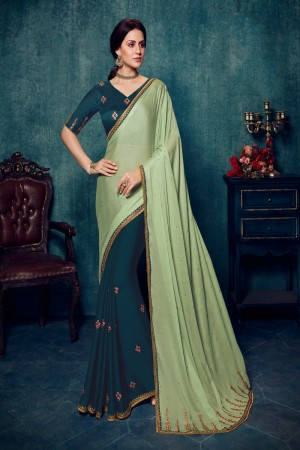 Pista & Cobalt Blue Satin Silk Saree with Blouse