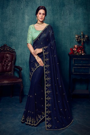 Navy Blue Vichitra Silk Saree with Blouse