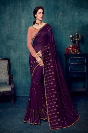 Wine Vichitra Silk Saree with Blouse
