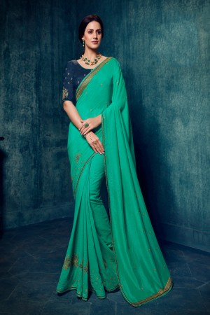 Sea Green Vichitra Silk Saree with Blouse