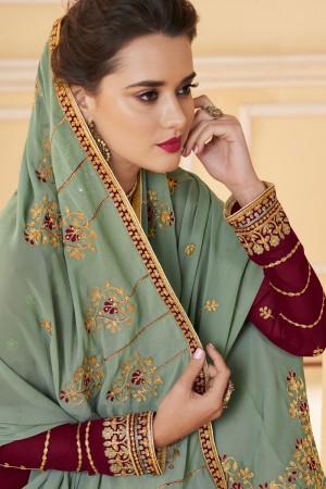Maroon Real Georgette Salwar Kameez
