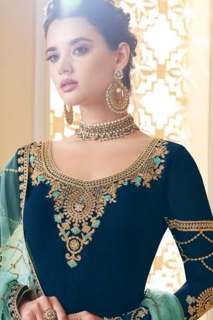 Blue Real Georgette Salwar Kameez