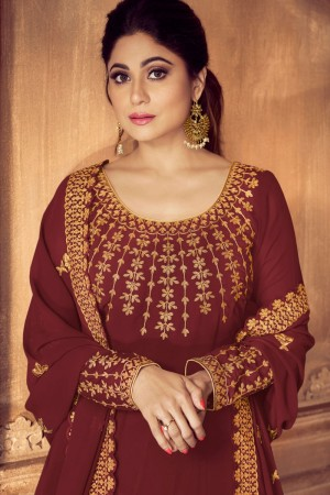 Maroon Georgette Salwar Kameez