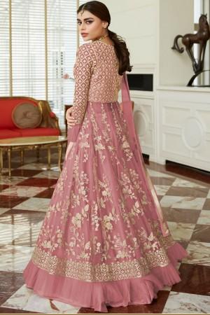 Pink Net Salwar Kameez