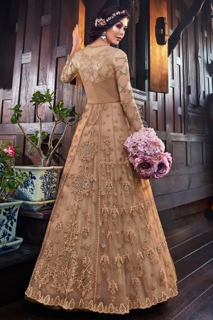 Light Brown Premium Net Salwar Kameez