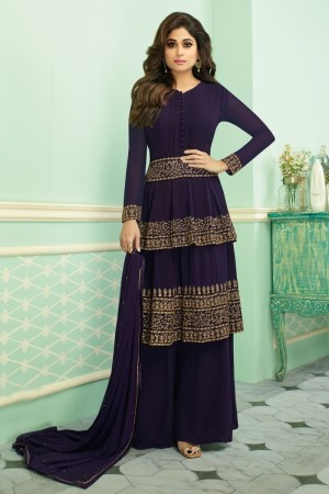 Purple Real Georgette Salwar Kameez