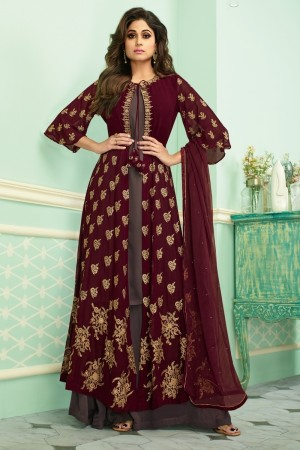 Maroon & Light Brown Real Georgette Salwar Kameez