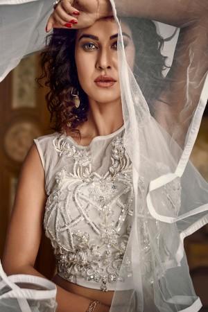 White Tissue Lehenga Choli
