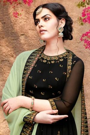 Black Faux Georgette Salwar Kameez